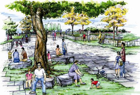 城市公园设计平面手绘图
