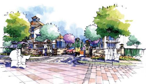居住区商业广场设计手绘分享展示