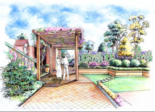 包括庭院效果图,小区入口景观效果图,景观立面效果图等.