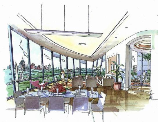 新加坡高层酒店环境景观手绘方案-英文版