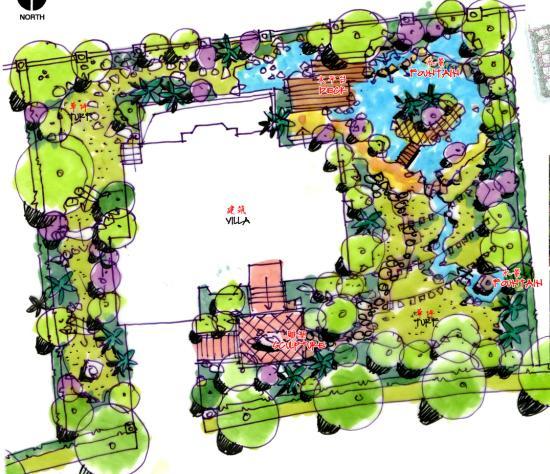 庭院景观设计图,每套别墅都有一个手绘景观设计平面