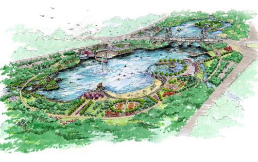 公园节点透视图手绘
