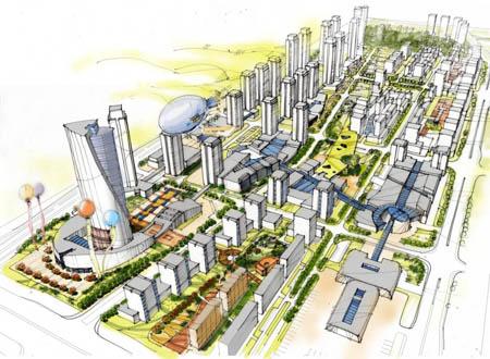 重庆大学城城市设计国际咨询方案创作2008 哈工大研究所图片