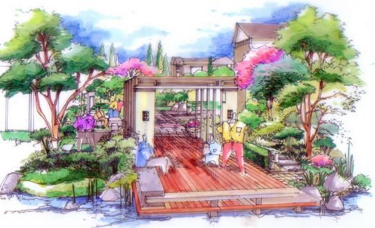 别墅景观设计手绘图_女装;