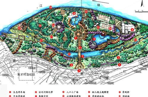 滨河公园设计平面图 成都竹岛公园总体规划