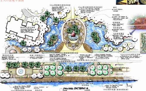 平面图,节点设计图; 漳州天利仁和花园景观环境设计
