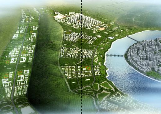 总体思路:基于对江津区总体规划的深入了解与掌握,通过对该区域整体环境的分析,建立起以绿谷景观,滨江绿色通道为主,同时联系现存自然山丘与地形特征区,体现立体化、网络化、整体化的森林城市的总体设计发展思路。 自然绿谷,生态型城市建构的源点,从燕子岩倾泻而下的宽阔绿谷形成城市块区分割的区域与界面。滨江绿带,沿江的绿化景观带,形成宽阔的,沿江开放的空间,同时和绿谷形成整体的绿地系统。城市块区,由河谷与滨江绿带围合并划分的城市块区,形成主要建筑区域,体现秩序结构。灵活公建,城市主要公建以自由的形态散布于巨大的景观绿