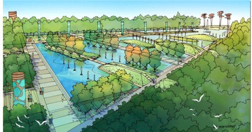 桂城东区中心公园投标方案,设计风格现代,全手绘图面精美.规