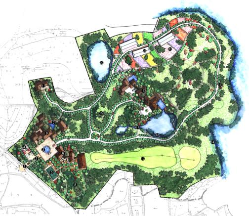 NITA2006年左右作品。41清晰JPG图、像素2481*1754.主要内容包括:设计说明;设计构思;现状建筑分析;功能分析;节点平面图;建筑效果图;建筑意向;植物意向等。 设计理念:观光休闲农业园区的景观规划建设用新的方式而非传统的农业生产建设,以城市-农田作为一个城市整体为出发点,强调了与城市生活的对话,形成了可游、可居、可作的环境景观。景观规划设计充分以原有绿化树种、农作物为植物材料进行园林景观的营造,园林小品风格自然淳朴、田园气息浓厚;各景观功能区突出以人为本,同时也要和生产相组合。根据不同地