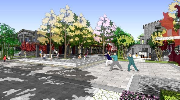 公共活动空间景观效果图高清图片