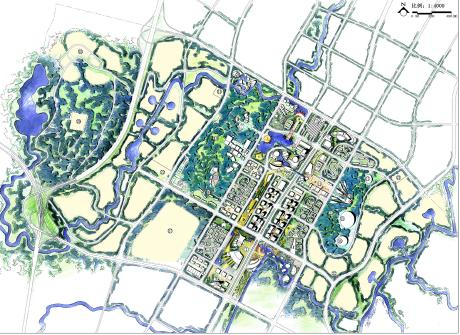城市规划手绘效果图