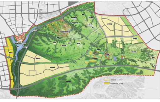 北京清华院2007年9月编制,PDF格式、107清晰页面。内容包括:设计构思及灵感来源;项目背景及区位分析;用地现状分析;总体规划设计;分区规划设计;公共艺术规划;生态技术规划。 设计原则:本次森林公园设计的构思,主要来源于对现状地域特色的深入思考。 继承并发展丰富的地域文化体现人文精神; 挖掘并重塑富有特色的地形地貌展现自然精神; 满足人们日益增长的休闲旅游的需求提高生活品质; 提出合理的开发模式,与自然相结合保证项目实施。  总平面  草原风情园