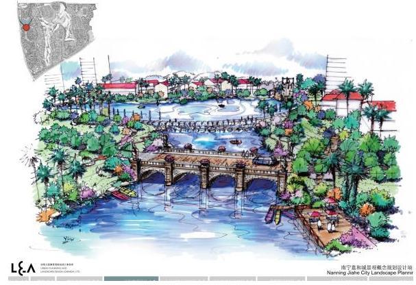 西河道公园效果图一-南宁嘉和城景观概念规划设计项目 奥雅