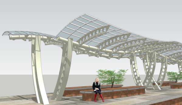 膜结构钢架网构筑停车棚草图大师sketchup模型