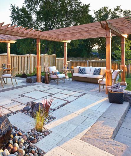 别墅户外庭院景观地面石材拼接设计techo
