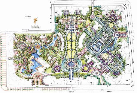 城市设计总平面图手绘图