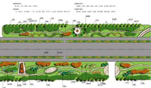 内容包括:植物配置图,绿化效果图,平面图,道路分析图,设计理念等.
