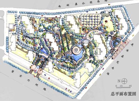 室外景观平面布置图; 北京鹿港嘉苑景观设计文本——edsa; 北京鹿港