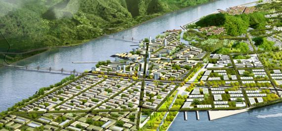 梅山岛具备独特的自然特征和资源,如带有丘陵的标志性地形、种类繁多的本土植物、从海域到人工池等形态各异的水体,这些将作为岛屿的重要特征被保留并强化、整合。景观和城市设计概念,主要是基于自然环境与人工环境的共生原则,设计将着重关注两极环境的交替界面,尤其是沿发展轴线的交界区,同时也将考虑轮廓线与城市天际线之间的对比及协调关系。 74清晰JPG图,图片像素1587*1122。内容包括规划分析和规划设计两大部分。  中心区鸟瞰