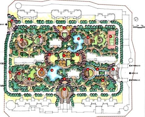 将景观平面定义为欧式庭院风格,以流畅的曲线道路联系建筑与景观组团.