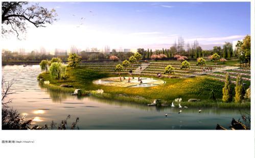圆形公园手绘效果图