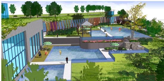 游泳池及覆土建筑鸟瞰图片