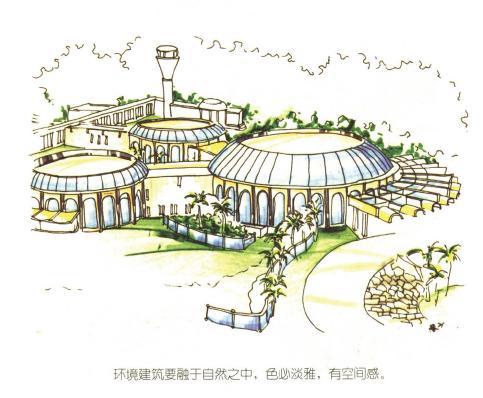 马克笔画 园林设计