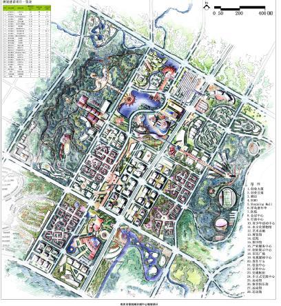 优80设计空间; 花园手绘总平面图;