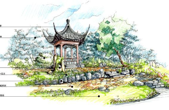园林景观设计六角亭图片展示下载